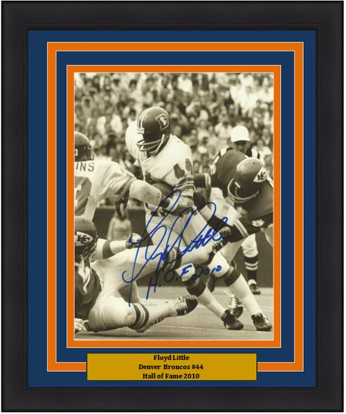 "Floyd Little in Action Denver Broncos Autographed 8"" x 10"" Framed and Matted Photo with Hall of Fame Inscription - Dynasty Sports & Framing"