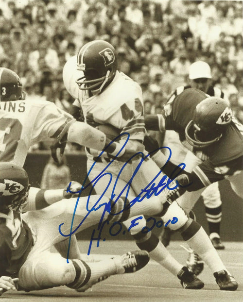 "Floyd Little in Action Denver Broncos Autographed 8"" x 10"" Photo with Hall of Fame Inscription - Dynasty Sports & Framing"