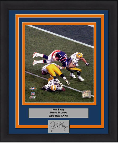 "Denver Broncos John Elway Super Bowl XXXII Engraved Autograph NFL Football 8"" x 10"" Framed and Matted Photo (Dynasty Signature Collection) - Dynasty Sports & Framing"