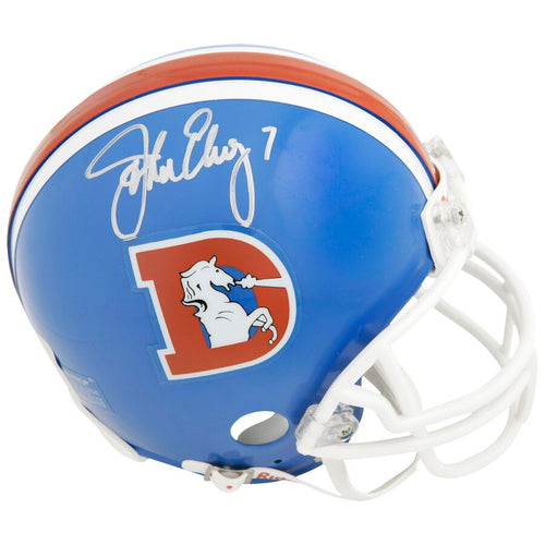 John Elway Denver Broncos Autographed NFL Football Throwback Mini-Helmet