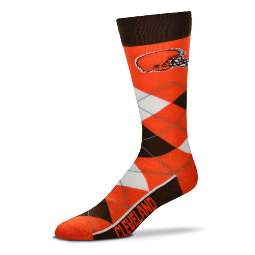 Cleveland Browns Men's NFL Football Argyle Lineup Socks - Dynasty Sports & Framing