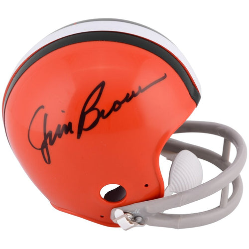 Jim Brown Cleveland Browns Autographed NFL Football Throwback Mini-Helmet