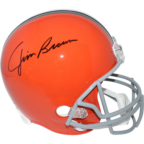 Jim Brown Cleveland Browns Autographed NFL Football Full-Size Replica Throwback Helmet