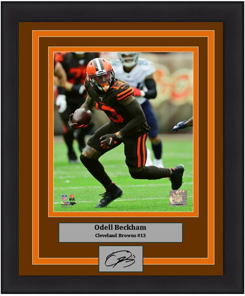 Odell Beckham in Action Cleveland Browns 8x10 Framed Football Photo with Engraved Autograph - Dynasty Sports & Framing