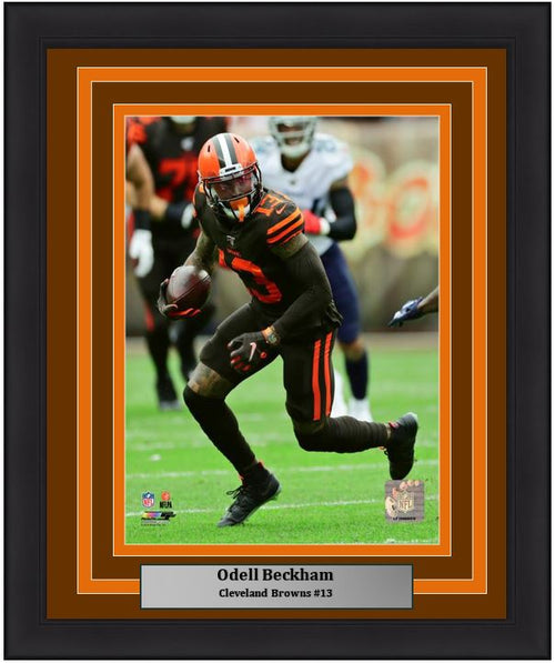 "Odell Beckham in Action Cleveland Browns NFL Football 8"" x 10"" Framed and Matted Photo - Dynasty Sports & Framing"