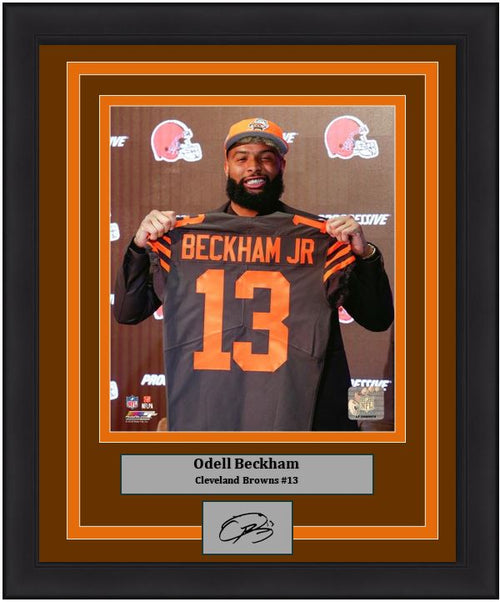 "Odell Beckham, Jr. Cleveland Browns Press Conference NFL Football 8"" x 10"" Framed and Matted Photo with Engraved Autograph - Dynasty Sports & Framing"