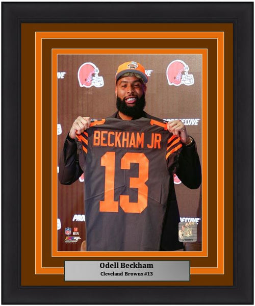 "Odell Beckham, Jr. Cleveland Browns Press Conference NFL Football 8"" x 10"" Framed and Matted Photo - Dynasty Sports & Framing"