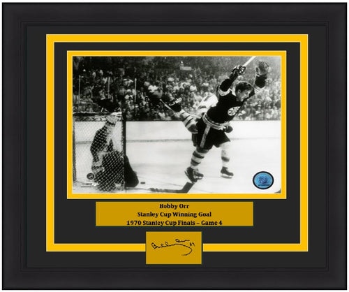 "Bobby Orr Boston Bruins 1970 Stanley Cup Game-Winning Goal & Leap NHL Hockey 8"" x 10"" Framed and Matted Photo with Engraved Autograph - Dynasty Sports & Framing"