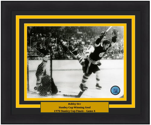 "Bobby Orr Boston Bruins 1970 Stanley Cup Game-Winning Goal & Leap NHL Hockey 8"" x 10"" Framed and Matted Photo - Dynasty Sports & Framing"