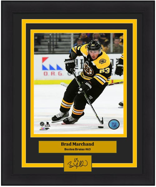 "Brad Marchand Boston Bruins In Action NHL Hockey 8"" x 10"" Framed Photo with Engraved Autograph - Dynasty Sports & Framing"