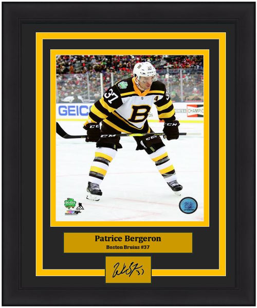 "Boston Bruins Patrice Bergeron 2019 Winter Classic Engraved Autograph NHL Hockey 8"" x 10"" Framed & Matted Photo (Dynasty Signature Collection)"