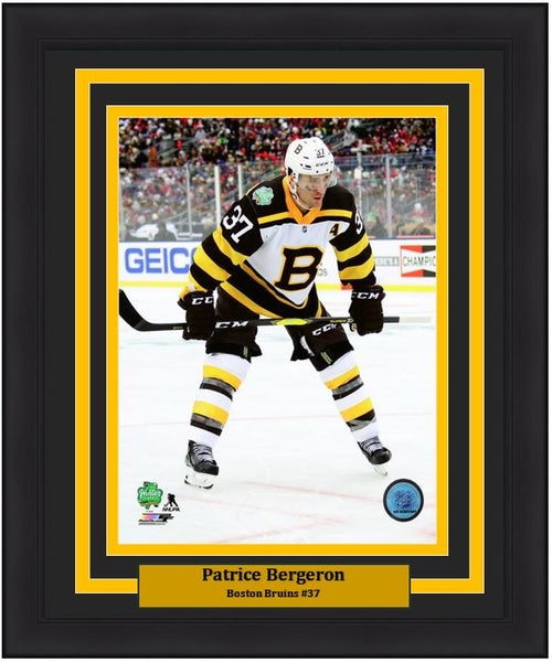 "Boston Bruins Patrice Bergeron 2019 Winter Classic NHL Hockey 8"" x 10"" Framed and Matted Photo"