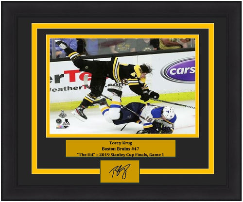 "Torey Krug Boston Bruins 2019 Stanley Cup Finals Game 1 Hit NHL Hockey 8"" x 10"" Framed and Matted Photo with Engraved Autograph"
