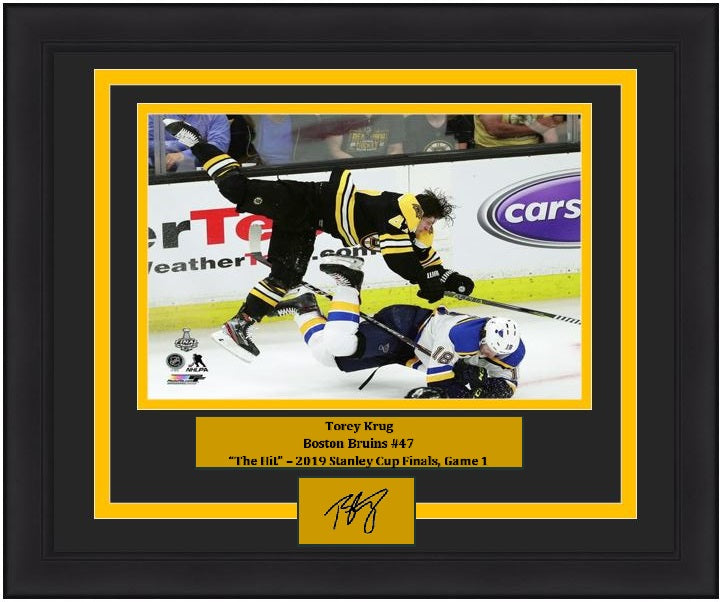 Torey Krug Boston Bruins 2019 Stanley Cup Finals Hit 8x10 Framed Photo with Engraved Autograph - Dynasty Sports & Framing