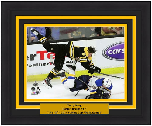 "Torey Krug Boston Bruins 2019 Stanley Cup Finals Game 1 Hit NHL Hockey 8"" x 10"" Framed Photo - Dynasty Sports & Framing"