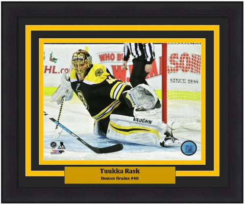 "Tuukka Rask Making a Save Boston Bruins NHL Hockey 8"" x 10"" Framed and Matted Photo"
