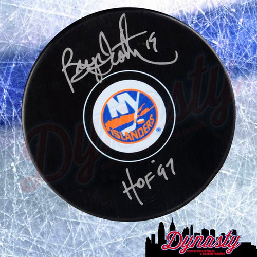 Bryan Trottier New York Islanders Autographed NHL Hockey Logo Puck with Hall of Fame Inscription - Dynasty Sports & Framing