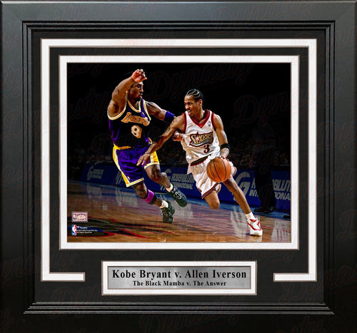 "Kobe Bryant v. Allen Iverson 8"" x 10"" Framed Basketball Photo - Dynasty Sports & Framing"