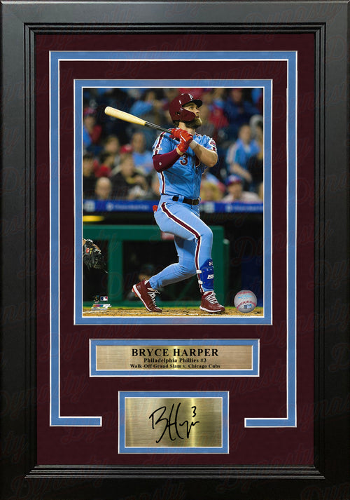 Bryce Harper Walk-Off Grand Slam Hit Philadelphia Phillies 8x10 Framed Photo with Engraved Autograph - Dynasty Sports & Framing