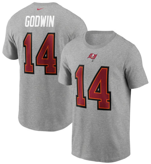 Chris Godwin Heather Gray Tampa Bay Buccaneers Nike Player Name & Number T-Shirt - Dynasty Sports & Framing