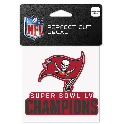 "Tampa Bay Buccaneers Super Bowl LV Champions 4"" x 4"" Decal - Dynasty Sports & Framing"