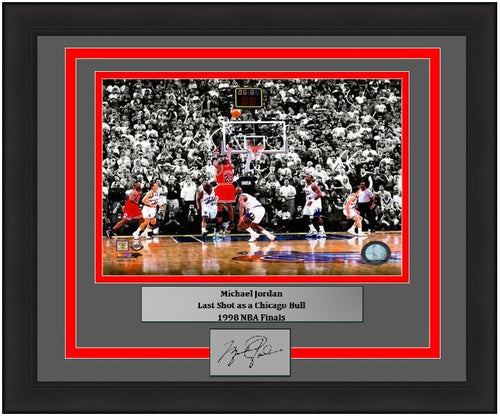 "Michael Jordan Final Shot as a Chicago Bull, 1998 Finals 8"" x 10"" Framed Basketball Photo with Engraved Autograph"
