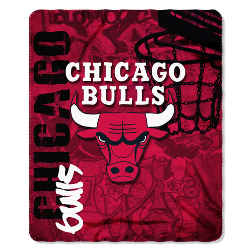 "Chicago Bulls NBA Basketball 50"" x 60"" Hard Knocks Fleece Blanket - Dynasty Sports & Framing"