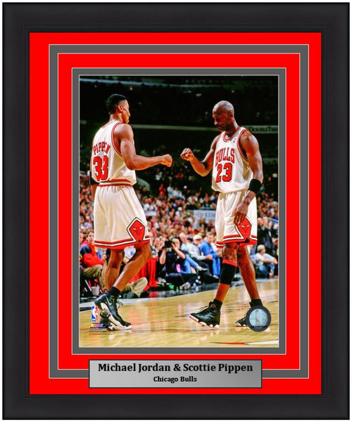 "Chicago Bulls Michael Jordan & Scottie Pippen NBA Basketball 8"" x 10"" Framed and Matted Photo"