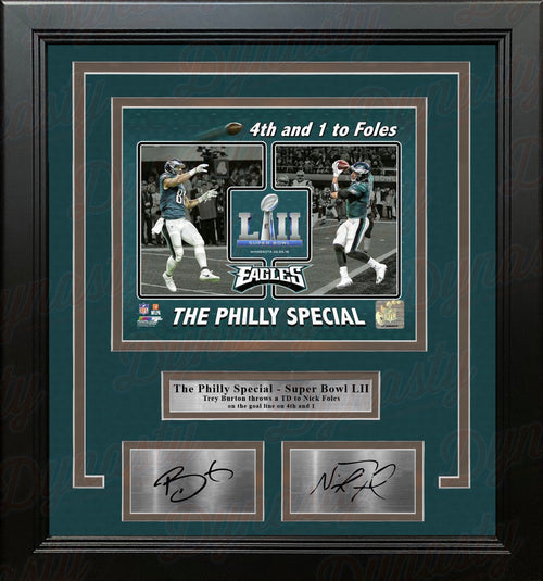 Trey Burton & Nick Foles Eagles Philly Special Collage 8x10 Framed Photo with Engraved Autographs - Dynasty Sports & Framing