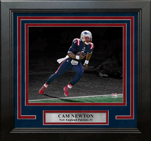 "Cam Newton Blackout Action New England Patriots 8"" x 10"" Framed Football Photo - Dynasty Sports & Framing"