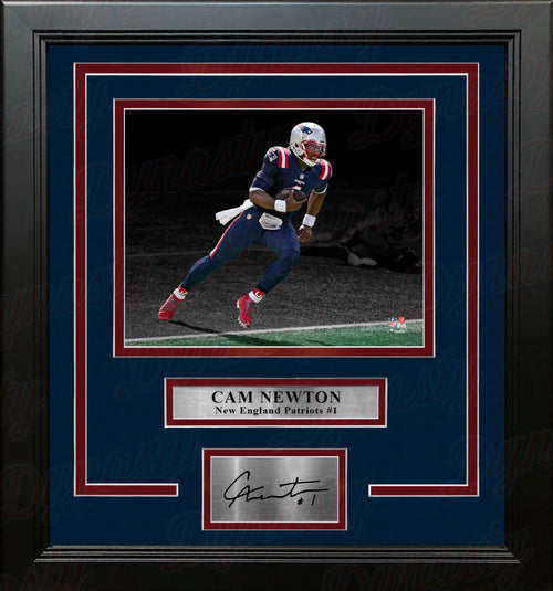 Cam Newton Blackout Action New England Patriots 8x10 Framed Football Photo with Engraved Autograph - Dynasty Sports & Framing