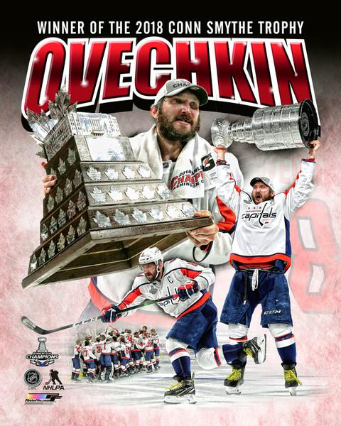 "Washington Capitals 2018 Stanley Cup Champions Alex Ovechkin Conn Smythe Trophy Collage NHL Hockey 8"" x 10"" Photo"
