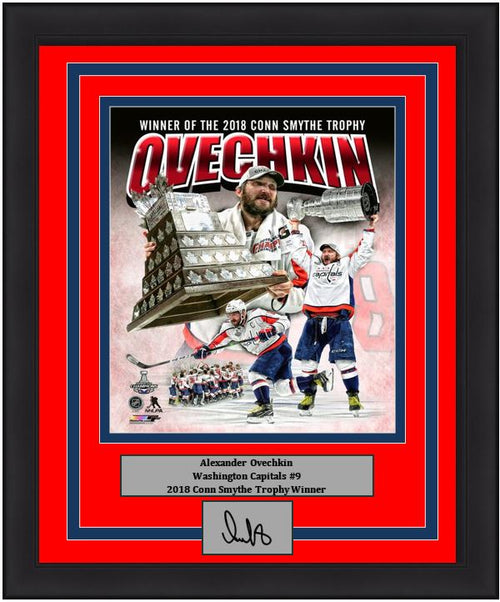 Washington Capitals 2018 Stanley Cup Champions Alex Ovechkin Conn Smythe Trophy Collage Engraved Autograph NHL Hockey Framed & Matted Photo (Dynasty Signature Collection)