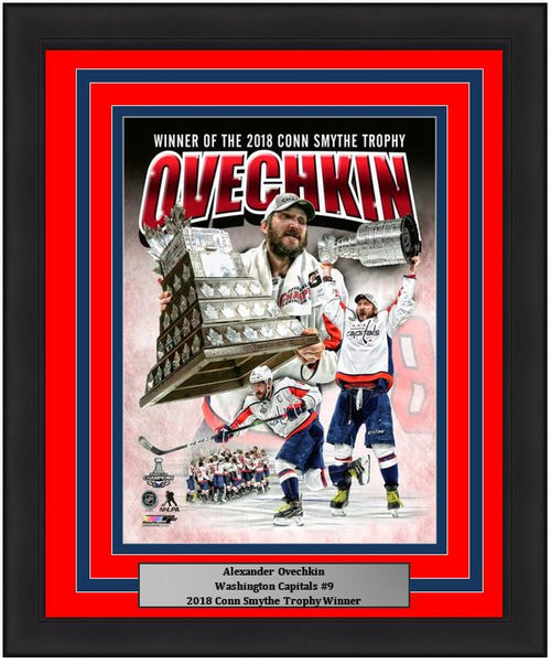 "Washington Capitals 2018 Stanley Cup Champions Alex Ovechkin Conn Smythe Trophy Collage NHL Hockey 8"" x 10"" Framed and Matted Photo"