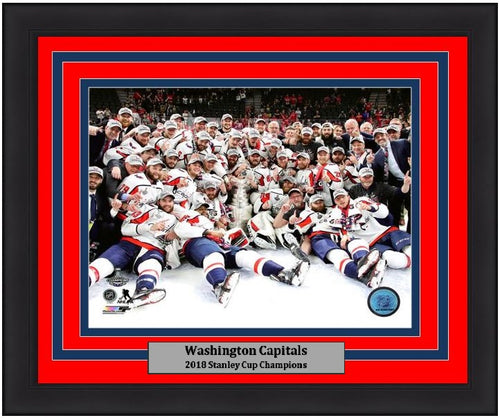 "Washington Capitals 2018 Stanley Cup Champions Team Celebration NHL Hockey 8"" x 10"" Framed Photo"