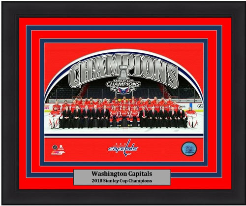 "Washington Capitals 2018 Stanley Cup Champions Team Roster Line-Up NHL Hockey 8"" x 10"" Framed and Matted Photo"