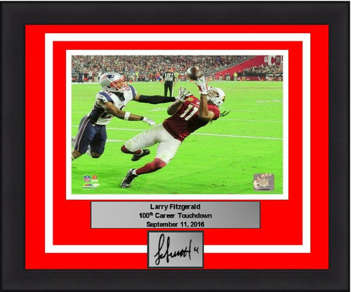Larry Fitzgerald Arizona Cardinals 100th Career Touchdown NFL Football 8x10 Framed Photo with Engraved Autograph - Dynasty Sports & Framing