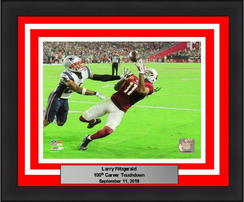 "Larry Fitzgerald Arizona Cardinals 100th Career Touchdown NFL Football 8"" x 10"" Framed and Matted Photo - Dynasty Sports & Framing"