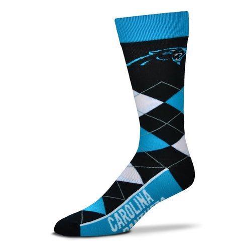 Carolina Panthers Men's NFL Football Argyle Lineup Socks - Dynasty Sports & Framing