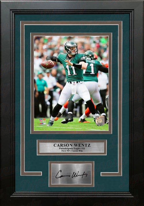 Carson Wentz First Career Win Philadelphia Eagles NFL Football Framed Photo with Engraved Autograph - Dynasty Sports & Framing