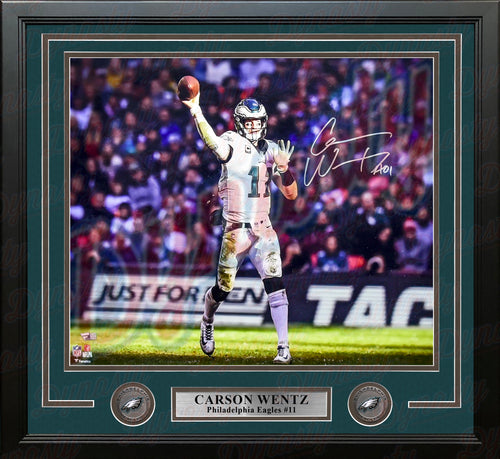 "Carson Wentz Philadelphia Eagles Throwing in White Autographed NFL Football 16"" x 20"" Framed Photo - Dynasty Sports & Framing"
