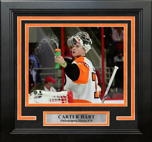 Carter Hart Philadelphia Flyers Water Bottle Hockey Framed and Matted Photo - Dynasty Sports & Framing