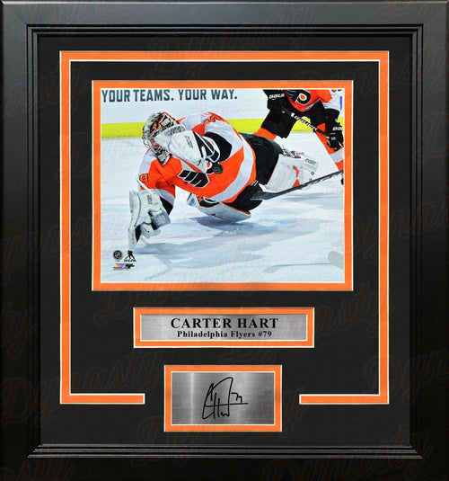 Carter Hart Philadelphia Flyers Save v. Canucks Hockey Framed Photo with Engraved Autograph - Dynasty Sports & Framing