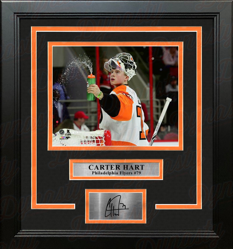 Carter Hart Philadelphia Flyers Water Bottle Hockey Framed and Matted Photo with Engraved Autograph - Dynasty Sports & Framing