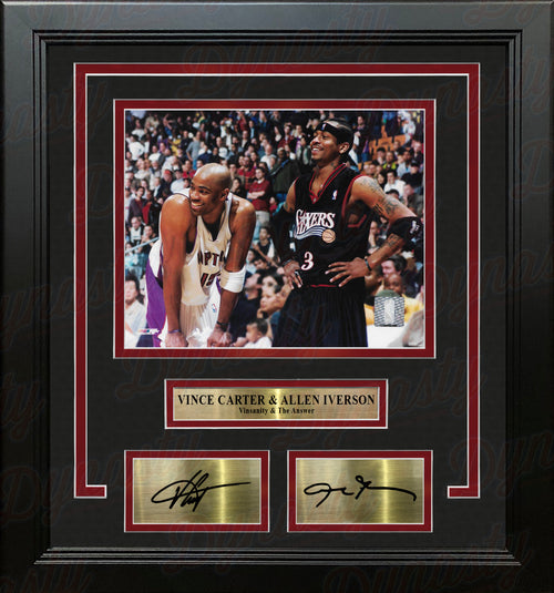 "Vince Carter & Allen Iverson 8"" x 10"" Framed Basketball Photo with Engraved Autographs - Dynasty Sports & Framing"