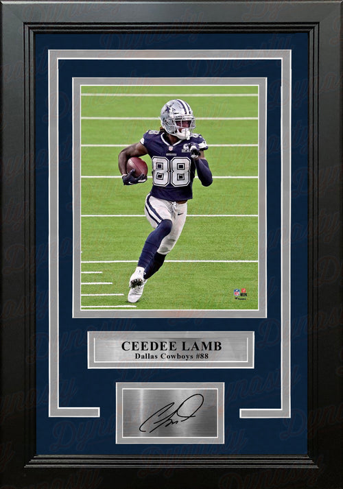 "CeeDee Lamb in Action Dallas Cowboys 8"" x 10"" Framed Football Photo with Engraved Autograph - Dynasty Sports & Framing"