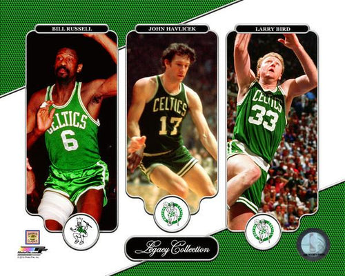 "Bill Russell, John Havlicek, & Larry Bird Boston Celtics NBA Basketball 8"" x 10"" Legacy Photo"