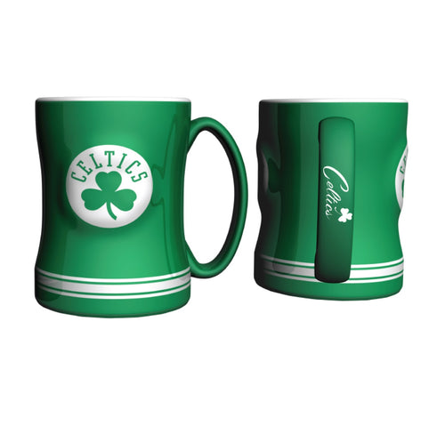 Boston Celtics NBA Basketball Logo Relief 14 oz. Mug - Dynasty Sports & Framing