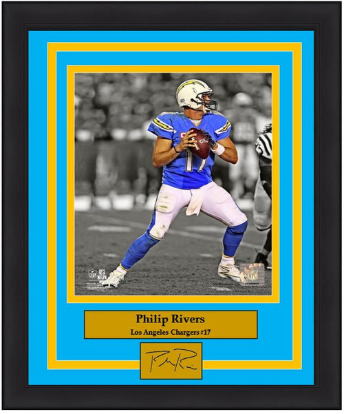 "Los Angeles Chargers Philip Rivers Engraved Autograph NFL Football 8"" x 10"" Framed and Matted Photo (Dynasty Signature Collection) - Dynasty Sports & Framing"