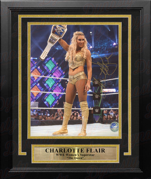 "Charlotte Flair Woman's Champion Autographed 8"" x 10"" Framed WWE Wrestling Photo - Dynasty Sports & Framing"